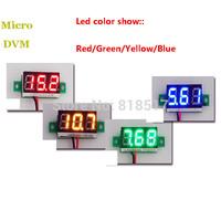 50pcs Mini Digital Panel Meter for Motorcycle ,  028'' 2 wire ,3V -30V DC Digital Voltmeter 3-Digital Blue Voltmeter Display