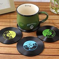 CD Style Slip-resistant Heat Pad Eco-friendly Coaster Cup Mat (Random Color)  4Pcs / Lot  Diameter10 cm