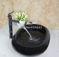 TD30188655-1 Hot Sale Bamboo Shape Faucet With Boat Shape Ceramic Sink Glaze Spraying Bathroom Washbasin Basin Sink Set