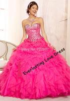 New Fashion 2014 Sweetheart Hand Beading Full Bodice Elegant and beautiful cascading ruffles Organza Quinceanera Dresses