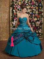 Free shipping! Beautiful Floor-Length Ball Gown Sweetheart Sleeveless Taffeta Dress Quinceanera Dresses Vestidos Quinceanera