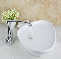 TD30128705 Unique Design Irregular White Swivel Faucet Countertop Ceramic Sink Glaze Spraying Bathroom Functional Basin Sink Set