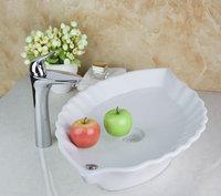 TD301492365 Modern Polished Chrome Faucet Leaf Shape Countertop Ceramic Sink Good Price Bathroom Functional Basin Sink Set