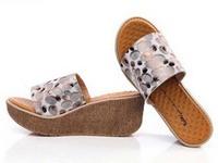 Summer wedges platform slippers open toe platform high heel genuine leather women's fashion slippers