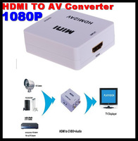 20pcs!Mini HDMI to AV/CVBS L/R Video Adapter 1080P Converter with audio Support NTSC and PAL Output DHL Free shipping with box