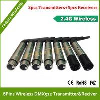 DHL Free Shipping 5Pin 2.4G wireless DMX512 Receiver&transmitter(5pins XLR)