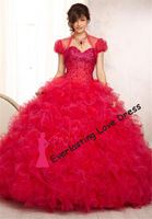 New Arrival 2014 Fashion Hand Beading glamorous Bodice Ruffled Tulle Sweet Sixteen Prom Quinceanera Dress Party Evening Dress