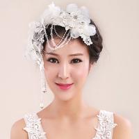 Rainbow bridal hairpin th056 handmade lace married hair accessory tassel rhinestone wedding dress accessories