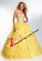 New Fashion 2014 Strapless Sweetheart Shimmering Hand Sewn Beading Ruffled Organza Quinceanera Dress Party Elegant Dress