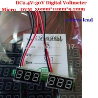 Free shipping 2 wire Mini Red 028'' Led Display DC Voltmeter 3v 12V 24V Voltage Panel Meter for battery tester