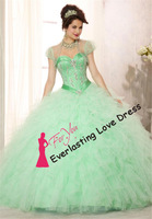 Elegant 2014 lovely strapless Ruffed Tulle ball gown Sweet Sixteen Quinceanera or Prom 2014. Style Woman's Evening vestidos