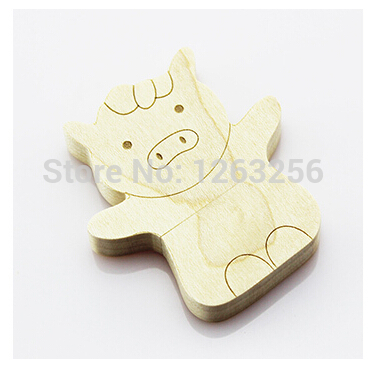 Free shipping Wooden pen drive 2GB 4GB 8GB 16GB 32GB 64GB porcine animals wooden usb flash drive U Disk(China (Mainland))