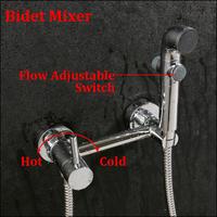 Brass Chrome Square Handheld Bidet / Portable Bidet Shower Set With Brass Bidet Faucet 1.5m Hose Bidet Mixer torneira banheiro
