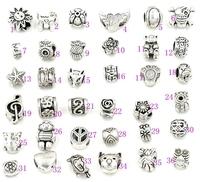 140pcs Antique Silver Big Hole Beads for Pandora Charm Bracelets ilia & Biagi Bracelet