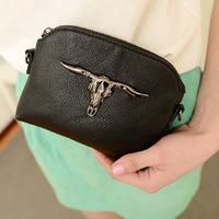 2014 NEW ARRIVAL Free Shipping Women Fashion PU Cow Head Bag Mini Phone Handbag Chain Messenger Bag