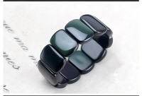 [Level 5A] wholesale natural rainbow obsidian eye bracelet, rounded rectangle , 17 * 24mm black obsidian bracelet free shipping