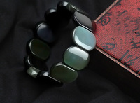 [Level 5A] natural rainbow obsidian eye bracelet, rounded rectangle ,17 * 24mm black obsidian bracelet Lovers Couple bracelet