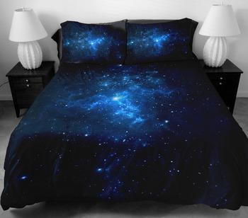 Комплект постельных принадлежностей 2 стороны печать темно-синий звезда постельное белье с 2 шелк , как подушка чехол для украшения дома