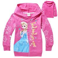 Frozen Sweatershirt Princess Girls Fashion Print Hoodies Elsa Clothes Long Sleeve Children Jumpers Clothing Free Shipping DA299