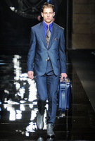 Customize - 2014 British European and American fashion men's suits set, two buckle blue striped suit,