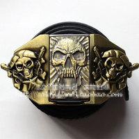 Bronze Skull Ghost Kerosene lighter belt buckle Unisex Fashion casual jeans belt head