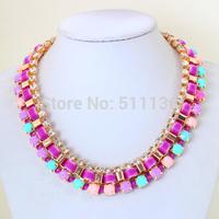 Newest Fashion 2014 Hot Sale Neon Ribbon Wrapped BIB Woven Necklaces Acrylic Statement Necklaces Venice Chain KK-SC584
