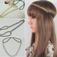2014 new  Free shipping 12pc/lots ribbon bicyclic chain fashion metal hair bands ribbon elastic headband 3 color options