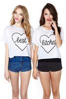 2014 women t-shirt BEST BITCHES white heart-shaped pattern printed round neck short sleeve T-Shirt