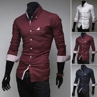 Fashion plaid leisure men's shirt Boutique shirt joker long sleeve shirts XL XXL XXXL