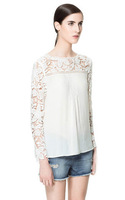 New Fashion Ladies' elegant sexy Lace sleeve chiffon blouse vintage shirt hollow out knitted shoulder tops 4 colors S-XL