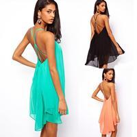 Free Shipping! New 2014 Spring Summer Dress Women sexy cross sleeveless vestidos long pure color chiffon Women dress
