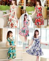 2014 New Womens Sexy Fashion Summer Slim Dress Short sleeve v-neck beachwear