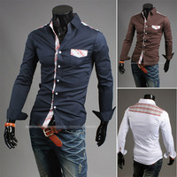 Men's cultivate one's morality long-sleeved pure color Classic personality checkered pattern stitching shirt