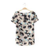 2014 New summer  Casual Chiffon loose short sleeve shirt O-Neck Blouse Free shipping    K73