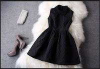Spring New 2014 White Slim Hip Sleeveless Summer Dress Blacke Beading Knitted Dresses Women Apparel Accessories Linen Flower