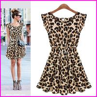 2014 Fashion Women Dresses Europe and America Leopard Print Sleeveless O Neck  Famous Brand Women Ball Dresses Free Shipping