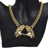New 2014 Spring Summer Hip Hop Jewelry Gold Chain Heavy Metal Double Hamsa Fatima Hand Pendant Necklace Choker Jewelry