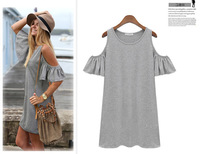 2014 summer woman clothes butterfly short sleeve cotton cute strapless dress plus size XXXL novelty black grey Drop shipping