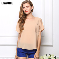 2014 New Fashion summer T shirt Chiffon T-shirt perspective short sleeve O-Neck chiffon Women's clothing crop top Free Shipping
