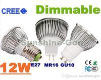 Retail High power Led bulb CREE 12W 4x3W Dimmable GU10 MR16 E27 E14 GU5.3 B22 Light Lamp Spotlight led lamps lighting PK COB
