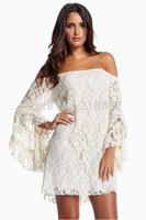 2014 New Slash Neck Buttlefly Sleeve Lace Dress Sexy Dress