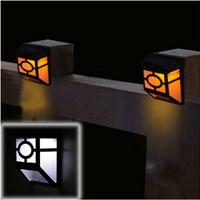 1Pcs 2-LED Warm Yellow Solar Powered Wall Mount Lantern Light Deck Lamp