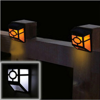 1Pcs 2-LED Warm Yellow Solar Powered Wall Mount Lantern Light Deck Lamp