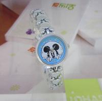 Novelty Designer Full Steel Mickey Mouse Bracelet Wristwatch Quartz Children Cartoon Watches Student Clock Gift ItemReloj NW110