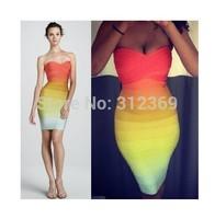 More Color Orange Gradually Shift Color Off Shoulder Women Bandage Dress Halter Designer Sexy Open Back Celebrity Party Dress