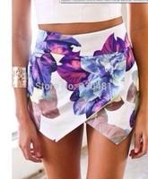Womens Tiered Shorts Irregular Zipper Trousers Culottes Short Skirt S M L  Print Color Hot Women Summer Wear Brand New