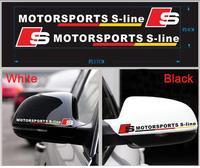 Car Mirror Cover Stickers Sline Reflective Stickers Auto Supplies For AUDI A4L VOLKSWAGEN VW Black White 2 pcs per set