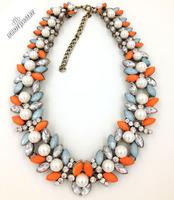 2014 Trend fashion flower bib pearl Z  luxury rhinestones necklaces & pendants choker chunky statement necklace women jewelry