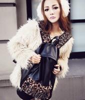 Double bag 2014 leisure ROCK PU retro tide hair spliced leopard rivet Bag handbags FREE SHIPPING