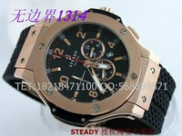 High Quality Cool Sport Mens Big Sapphire Rose Gold Male Clock Top Luxury Brand Men Rubber Strap Quartz Sports Watches HYu012